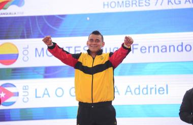 El pesista colombiano Hugo Montes le dio una de las dos medallas en disputa de la categoría de los 77 kilogramos.