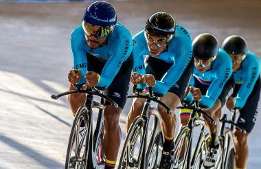 Equipo colombiano de ciclismo en pista.
