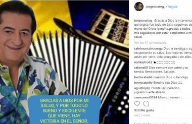 La foto y el mensaje que Jorge Oñate subió a su cuenta de Instagram.