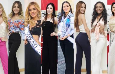 De izquierda a derecha: Angie Orozco (Atlántico), Fernanda Abisambra (Barranquilla), Paola Castellin (Bolívar), Sabrina Soltaus (Cartagena), Kenia Portillo (Guajira), Lisney Dominguez (Magdalena), Danitza Estrada (San Andrés, Providencia y Santa Catalina) y Shirley De La Ossa (Sucre).