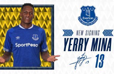 El colombiano Yerry Mina fue presentado además por las redes sociales del Everton.