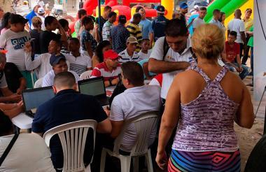 Aspecto de la primera jornada de 'Intégrate' realizada en el barrio La Central.