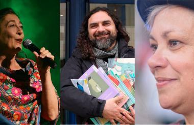 Gricelda Rinaldi, de Argentina; Pep Bruno, narrador español y Ana C. Fernández, de Costa Rica.