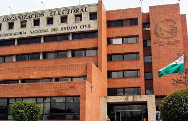 Fachada de la Registraduría Nacional, sede Bogotá.