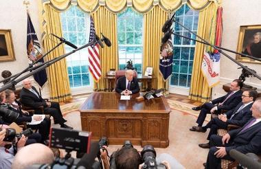 El presidente Donald Trump en la Sala Oval.