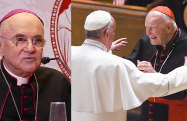 De izq. a der, el arzobispo acusador Carlo Vigano, el papa Francisco y el cardenal Theodore McCarrick.