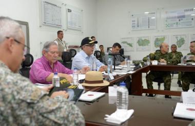 El presidente Iván Duque en el consejo de seguridad en Miranda, Cauca.