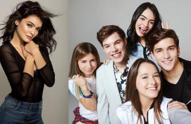 La actriz colombiana María José Vargas y parte del elenco de la serie 'Noobees' de Nickelodeon.