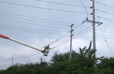 Un operario de Electricaribe trabaja en las líneas de conducción de energía en la zona de Barranquillita.