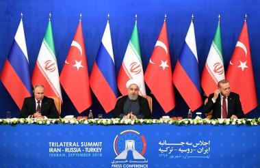 Los presidentes de Rusia, Irán y Turquía.