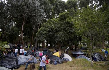 Migrantes venezolanos en Bogotá.