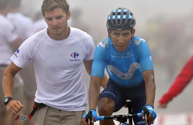 Nairo Quintana sufrió para llegar a la meta en la etapa 17 de la Vuelta a España.