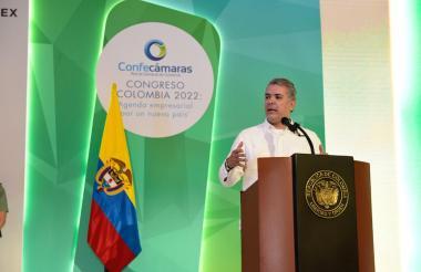 El presidente Iván Duque durante su intervención en el congreso de Confecámaras.