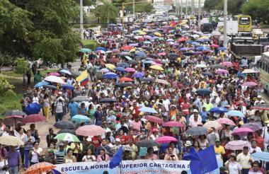 Una de las marchas de los docentes desarrollada en la ciudad de Cartagena.