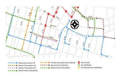 Planos de la calles que estarán cerradas desde hoy.