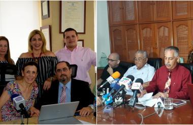Rueda de prensa de Carlos Jaller Raad (izquierda). Rueda de Prensa de Juan José Acosta (derecha).