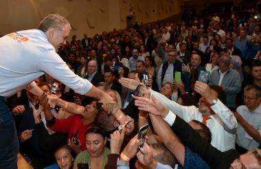 El presidente Iván Duque durante el taller 'Construyendo País' en Nueva York.