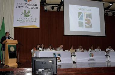 Aspecto de la instalación del II Foro Internacional de Educación y Movilidad Social realizado por la Universidad Simón Bolívar.