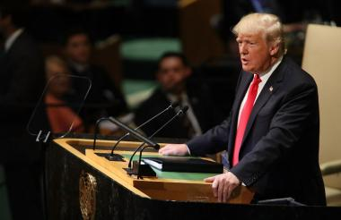 Donald Trump, presidente de Estados Unidos, cuando intervenía en la  Asamblea General de Naciones Unidas.