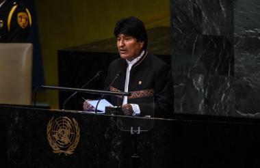 Evo Morales este miércoles ante la ONU.