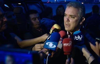 Iván Duque, presidente de la República dando declaraciones.