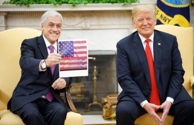 El presidente de Chile, Sebastián Piñera, y su colega de Estados Unidos Donald Trump durante el encuentro de este viernes en la Casa Blanca.