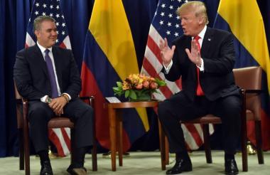 El presidente Duque y su colega Donald Trump en el reciente encuentro en Nueva York.
