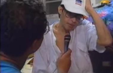 Ernesto McCausland en una entrevista con Héctor Lavoe en Nueva York.