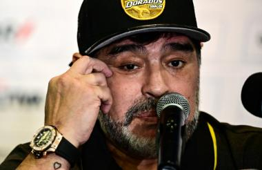 Diego Maradona, técnico de Dorados Club de Sinaloa.