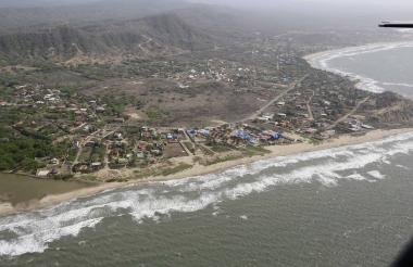 Vista aérea de la zona costera del departamento del Atlántico, donde se ha evidenciado el robo de tierras.