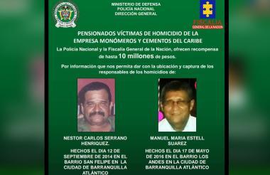Cartel de recompensa por ubicación de asesinos de los pensionados.