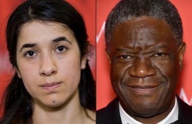 La iraquí Nadia Murad (Irak) y cl congoleño Denis Mukwege, ganadores del Premio Nobel de Paz 2018.