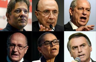 Los candidatos, arriba, izq a der: Fernando Haddad, Jair Bolsonaro y Ciro Gomes. Abajo: Geraldo Alckmin, Marina Silva, Henrique Meirelles.