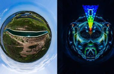 Fotografía aérea del lago El Cisne (Izquierda) y una imagen del monumento de la Ventana al Mundo (Derecha).
