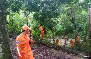 La Defensa Civil y la comunidad durante la búsqueda ayer del niño de 6 años en la rivera del río Minca.