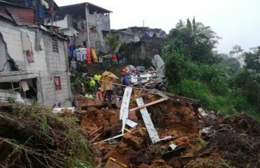 El deslizamiento de tierra que provocó la catástrofe en Marquetalia, Caldas.
