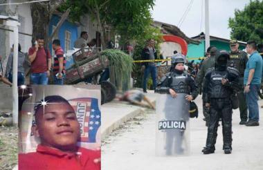 La cuadra en donde se registró el tiroteo. El el recuadro Argenis David Ramos Celin, uno de los asesinados.
