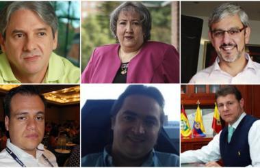 En orden de izquierda a derecha arriba: Jaime Amín Hernández, María Virginia Torres de Cristancho y Alonso Castellanos Rueda. Abajo de izquierda a derecha: Mauricio Solórzano, Juan Alberto Londoño Martínez y Miguel Arturo Linero de Cambil.