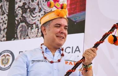 El presidente Iván Duque, durante la visita realizada el fin de semana a La Guajira.
