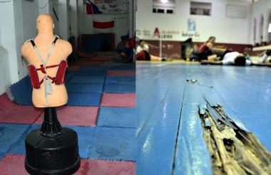 La zona de entrenamiento de taekwondo y el maderamen de la cancha de voleibol se encuentran en estado de deterioro.