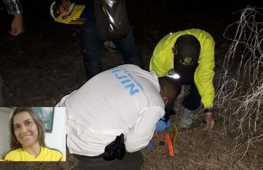Peritos en el lugar donde fueron hallados los restos de Brenda Pájaro Bruno.