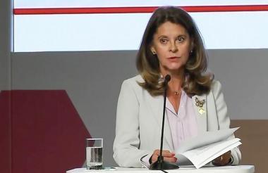 La vicepresidente Marta Lucía Ramírez en el marco de la reunión de la Organización para la Cooperación y el Desarrollo Económico (Ocde) en Lima, Perú.