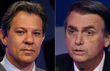 Fernando Haddad (izquierda) y Jair Bolsonaro (derecha), candidatos en la segunda vuelta.