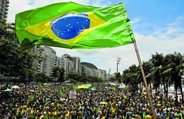 Simpatizantes de Bolsonaro en un mitin realizado esta semana en la playa de Copacabana, Río de Janeiro.