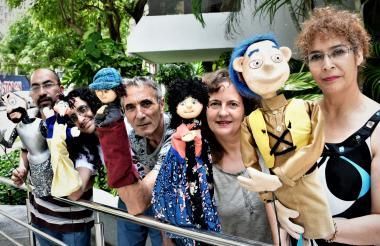 Los artistas Jorge Vega, Jorge Quesada, Carlos Díez, Lourdes Miramontes y Diana Marcos.