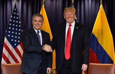 Iván Duque y Donald Trump en su primer encuentro oficial.