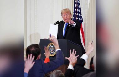 Trump en la rueda de prensa de este miércoles.