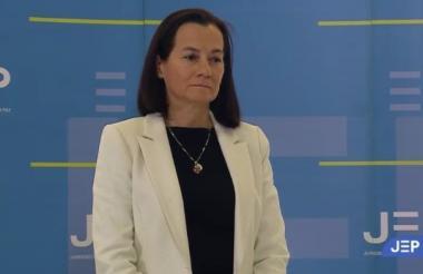 Clara Rojas  ante la Sala de Reconocimiento de la JEP.