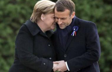 La canciller Ángela Merkel y el presidente francés Emmanuel Macron.