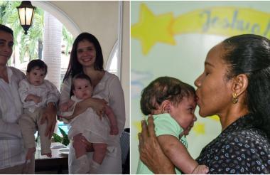Rodrigo Ramírez, de 39 años, junto a su esposa Violet Vásquez, de 36 y sus hijos Alejandro y Emma. Por otro lado Idalis Mendoza Miranda, de 45 años, junto a su hijo, Joshuah Daniel Borelly, de tres meses.